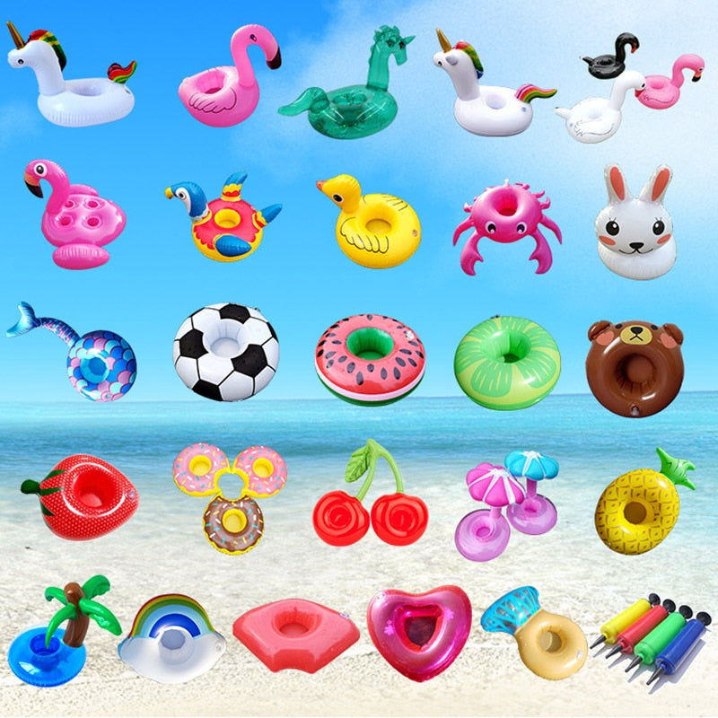 Air Mattresses for Cup Inflatable Flamingo Drinks Cup Holder Pool Floats Bar Coasters Floatation Devices Pink