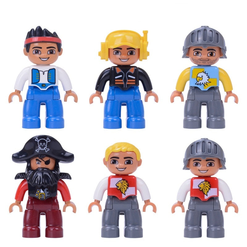 Single Sale Big Size Pirate soldier Pilot Building Blocks Character Compatible With Legoingly Duploed Figures Toys For Baby Kids