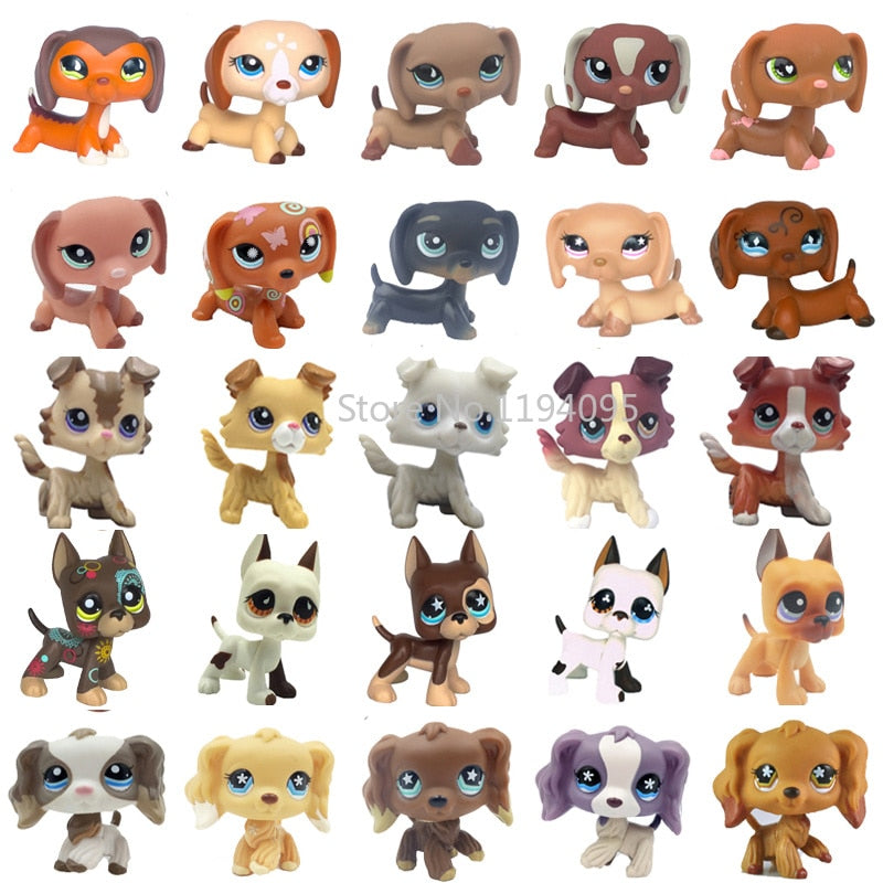 rare pet shop lps toys dog dachshund black 325 brown 675 little animal collie crocker spaniel great dane old real collection