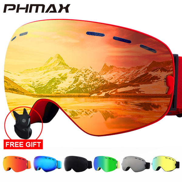 PHMAX 2019 Ski Goggles With Ski Mask Men Women Snowboard Goggles Glasses Skiing UV400 Protection  Anti-fog Snow Skiing Glasses