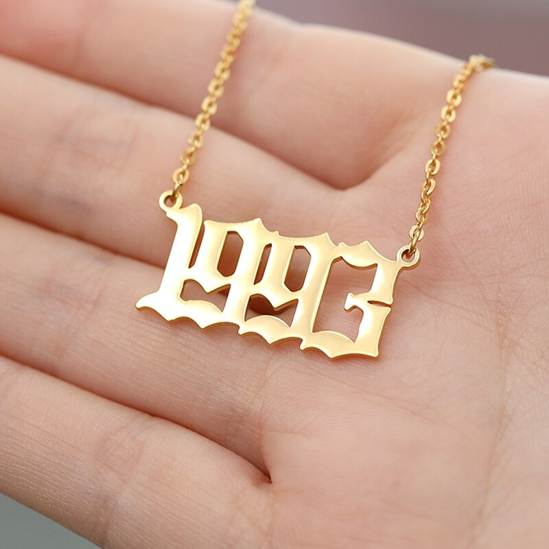 Stainless Steel Year Number Custom Necklaces Pendants For Women Men Gold Silver Long Chain Male Female Necklace Fashion Jewelry