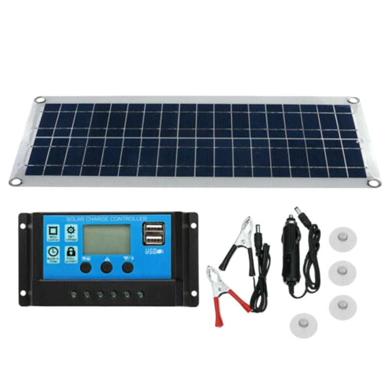 30W Dual USB Flexible Solar Panel Kit+30A Controller+Clip Outdoor Car Charger Power