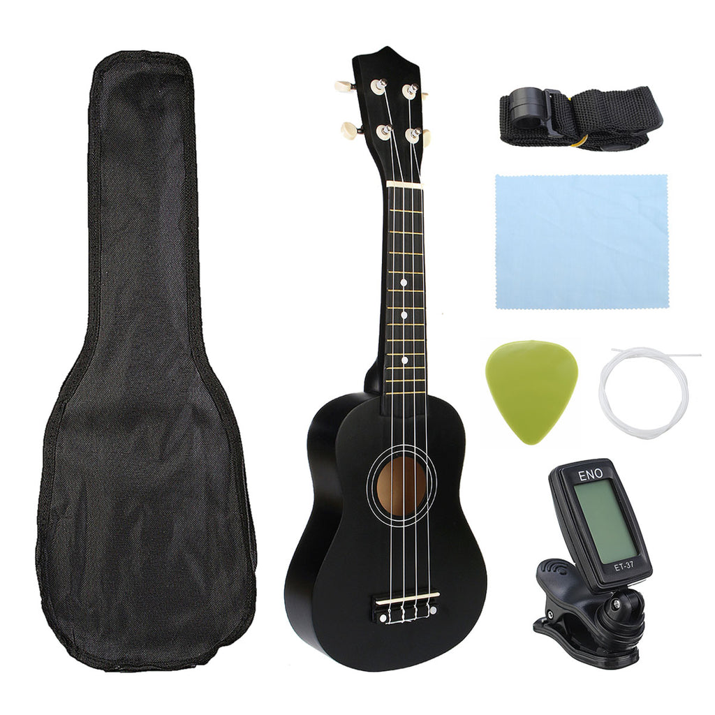 Zebra 21 inch Ukelele Soprano 4 Strings Hawaiian Spruce Basswood Guitar Musical Instrument Set Kits+Tuner+String+Strap+Bag