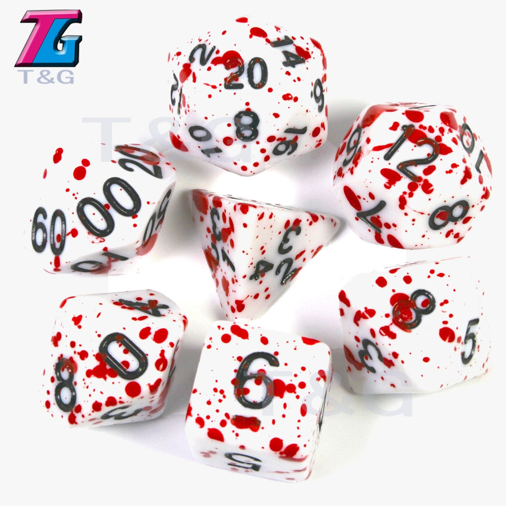 7Pcs/Set Polyhedral TRPG Games For Dungeons Dragons Opaque D4-D20 Multi Sides Dice Pop for BoardGame