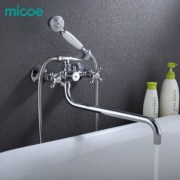 Micoe Bathtub Faucet Wall Mounted Bath Shower Faucet Bathroom Shower Faucet Set Waterfall Brass Shower Tap Shower Mixer M-A3022