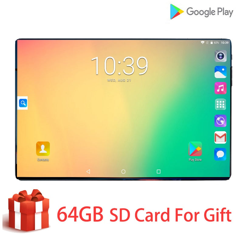 New Global 10.1 Inch tablet 3G 4G FDD LTE Android 9.0 Octa Core 1280X800 IPS 2.5D Touch Screen RAM 6GB ROM 128GB GPS tablet 10.1