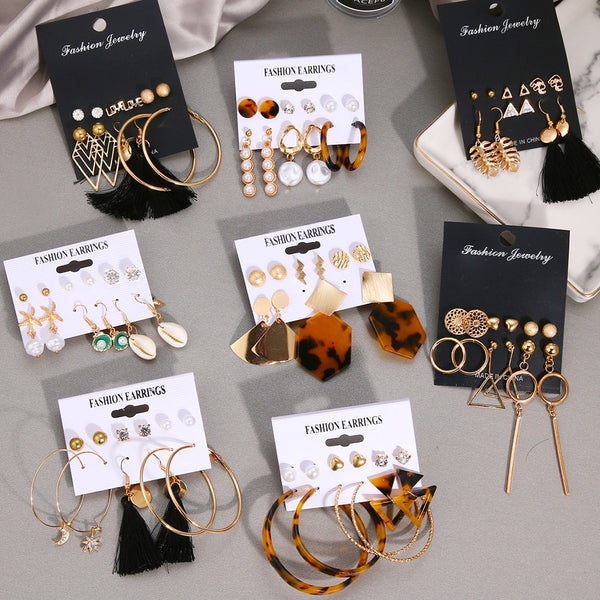 VKME 2019 Fashion Shell Earrings Set For Women Bohemian Flower Tassel Long Stud Earring 6pair / set Female Brincos Beach Jewelry
