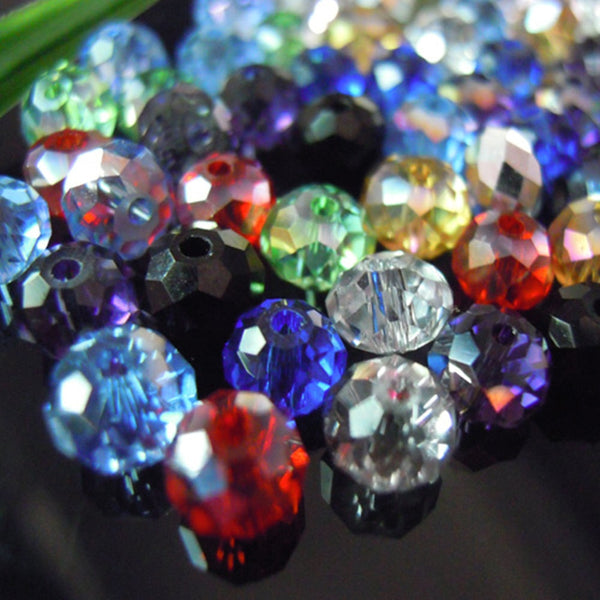 Isywaka Mixed Colors 4*6mm 100pcs Rondelle  Austria faceted Crystal Glass Beads Loose Spacer Round Beads for Jewelry Making