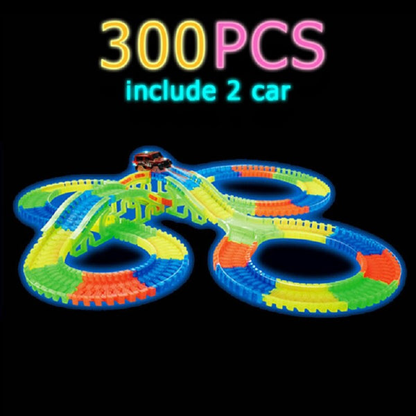 Glowing Race Track Bend Flex Flash in the Dark Assembly Flexible Car Toy /165/220/240pcs Glow Racing Track Set DIY Puzzle Toys