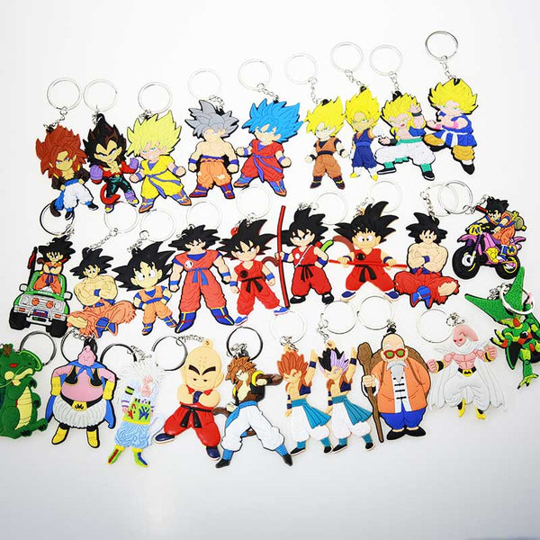 New Cartoon Anime Dragon Ball Keychain Son Goku Super Saiyan Silicone PVC Keychain Action Figure Pendant Keyring Collection Toy