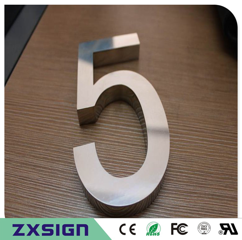 Factory Outlet Outdoor 304# stainless steel house number sign for 15cm(=6inches) high, metal doorplate