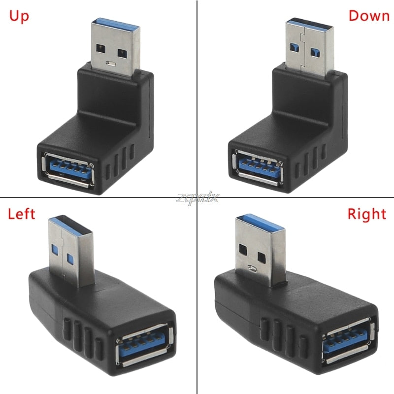 90 Degree Left Right Angled USB 3.0 A Male To Female Adapter Connector For Laptop PC  Whosale&Dropship