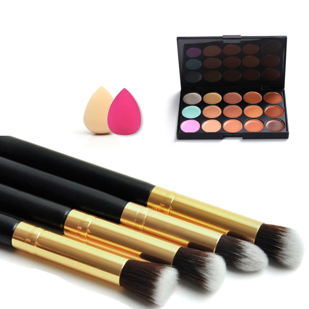 Pro Makeup Sets 15 Color Concealer Eyeshadow Palette + 4pcs Makeup Powder Brushes + 2pcs Sponge Puff Cosmetics Make Up Tool Kit