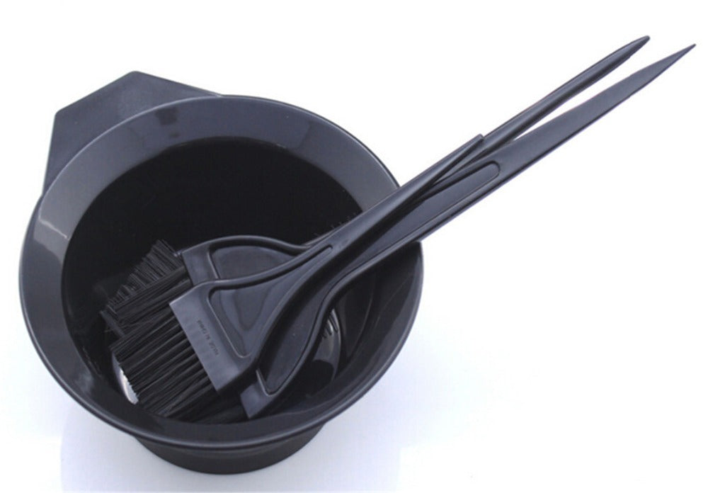 Hair Color Mixing Bowls with 3 brushes 4pcs Plastic Hair Tools Hair Dye Styling Accessories