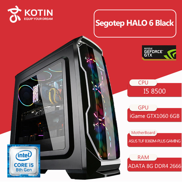 Kotin B2 Intel I5 8500 2.8GHz Gaming Desktop PC 120mm RGB Water Cooling GTX 1060 240GB SSD 16GB RAM (2*8GB) Computer RGB Fans
