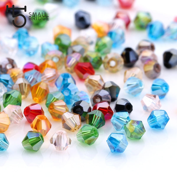 3 4 6mm Austrian Bicone Crystal Beads for Jewelry Making Diy Accessories Multicolor Faceted Glass Spacer Beads Wholesale