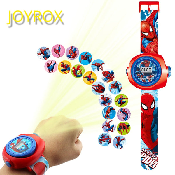 JOYROX Princess Spiderman Kids Watches Projection Cartoon Pattern Digital Child watch For Boys Girls LED Display Clock Relogio