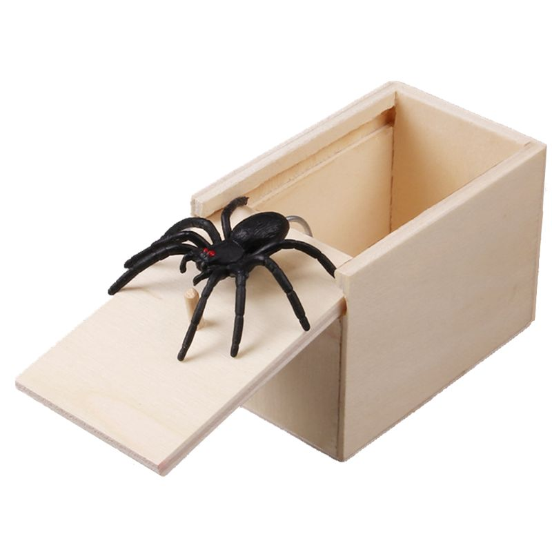 Novelty Hilarious Scary Box Spider Prank Wooden Scarybox Joke Gag Toy No Word Random color