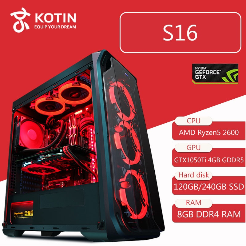 KOTIN S16 Desktop Computer Gaming PC AMD Ryzen5 2600 120GB 240G SSD PUBG PC 400W PSU 5 Red LED Fans Remote Control Light Bar