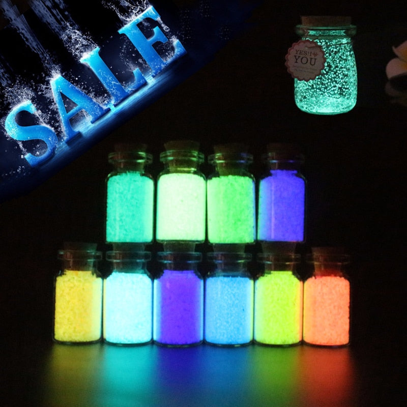 10g Luminous Sand Glow In The Dark Party DIY Bright Paint Star Wishing Bottle Fluorescent Particles Toys Drop Shipping