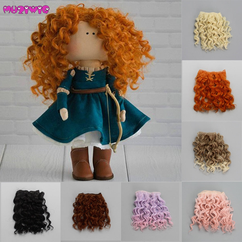 15*100cm Screw Curly Hair Extensions for All Dolls DIY Hair Wigs Heat Resistant Fiber Hair Wefts