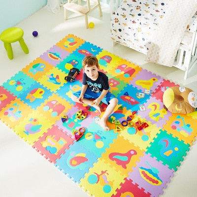 10Pcs animal Number Pattern Foam Puzzle Kids Rug Carpet Split Joint EVA baby Play Mat Indoor Soft activity Puzzle Mats
