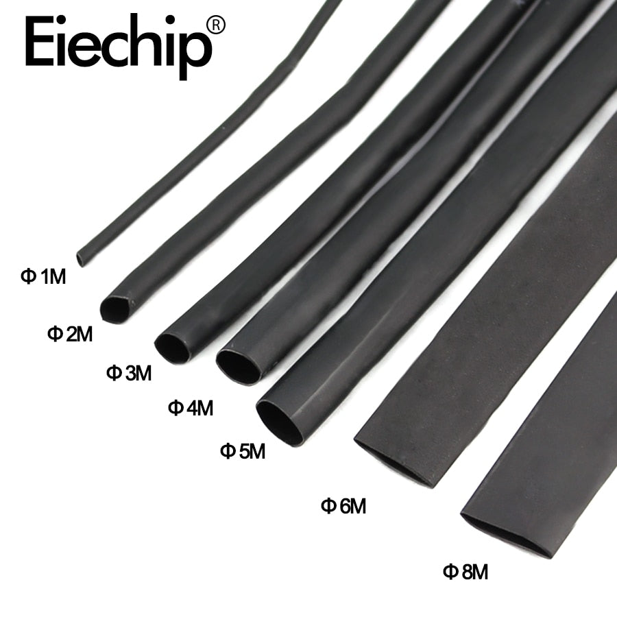 8 Meter/set Heat Shrink Tube kit 1/2/3/4/5/6/8/10mm 2:1 Black Heat Shrink Tubing Shrinkable Sleeving Wrap DIY Connector wire kit
