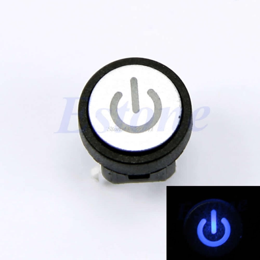 Blue Led Light Power Symbol Momentary Latching Computer Case Switch Push Button