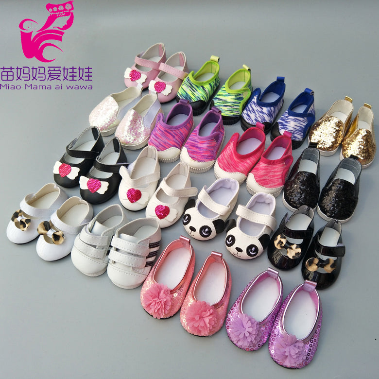 "Doll shoes for 43 cm new born baby Doll black white Prink Shoes For 18"" Girls Doll shoes sneacker doll Accessories"