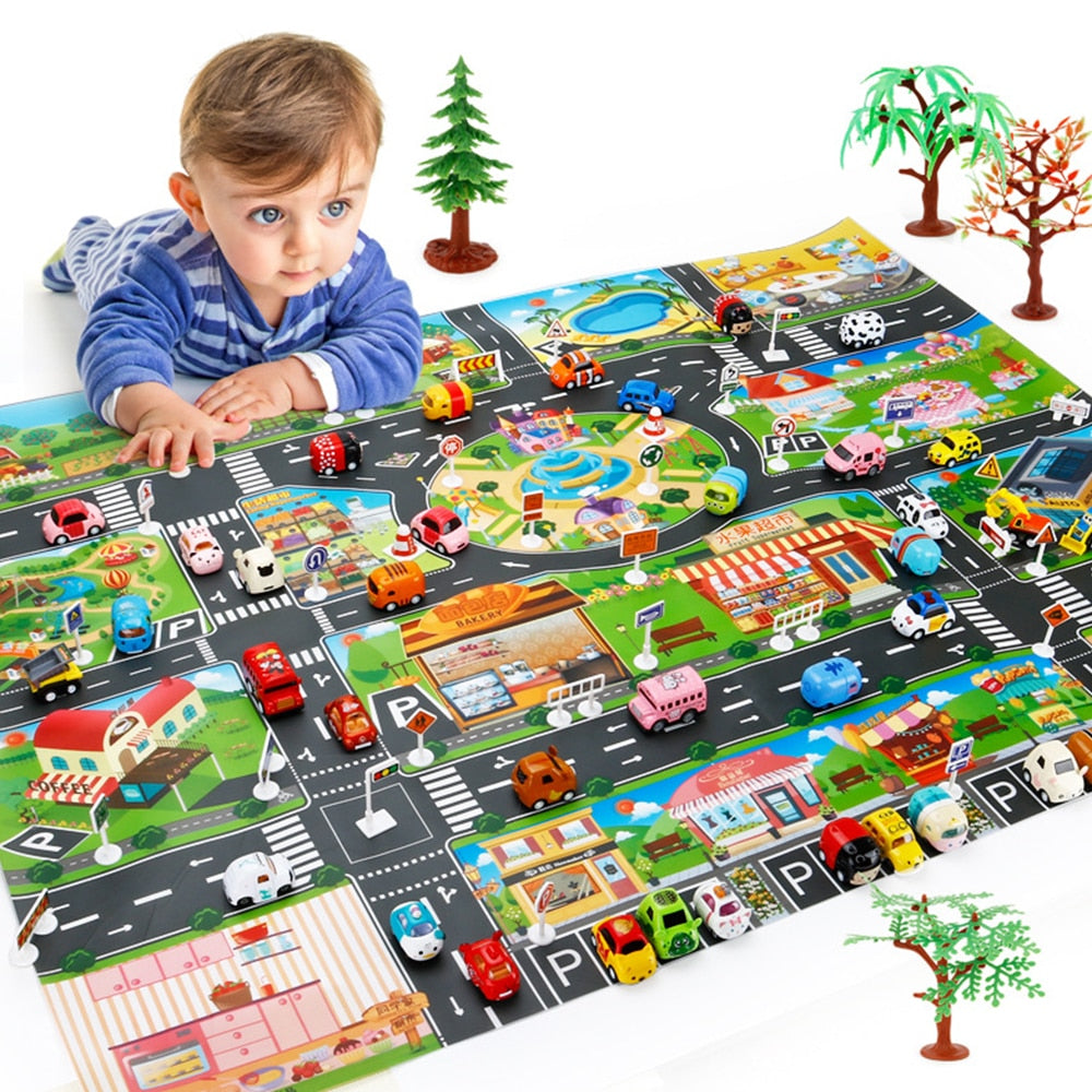 Enlarge Car Toy Waterproof Playmat 130*100CM Simulation Toys City Road Map Parking Lot Playing Mat Portable Floor Games