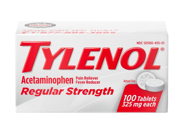 Tylenol Regular Strength Tablets with 325 mg Acetaminophen, 100 ct