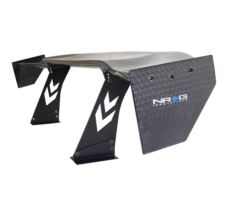 "NRG CARB-A692NRG Universal 69"" Carbon Fiber Spoiler with Diamond Weave Honey Pattern with NRG Logo, Stand Cut Out, Large Side Plate"