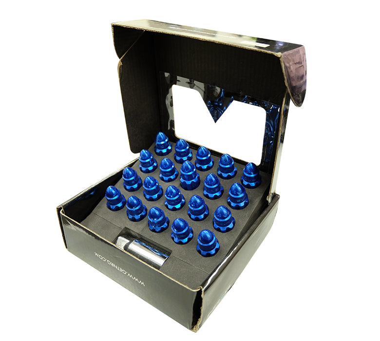 NRG LN-LS500BL-21 Blue with Lock Key M12 x 1.5 Steel Lug Nut Set Bullet Shape (Set of 21)