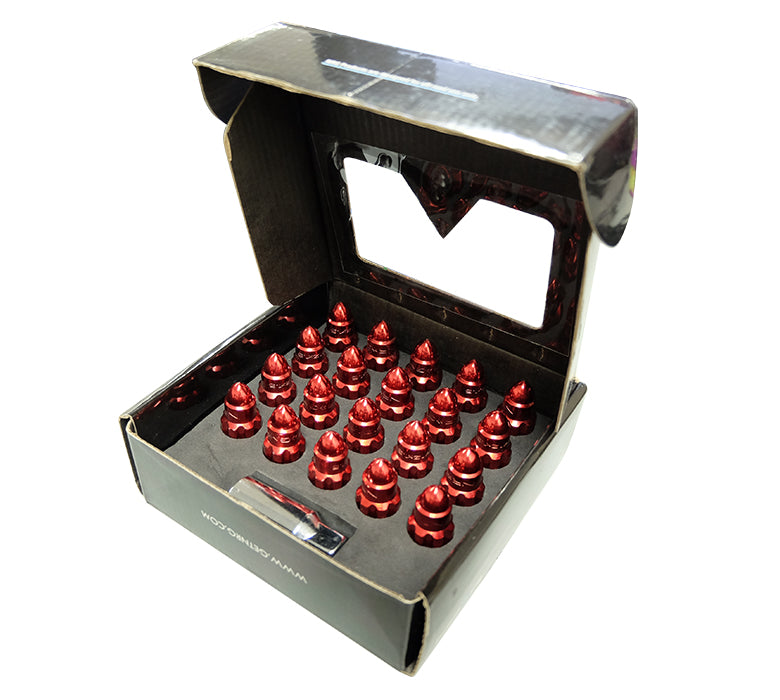NRG LN-LS510RD-21 Red with Lock Key M12 x 1.25 Steel Lug Nut Set Bullet Shape (Set of 21)