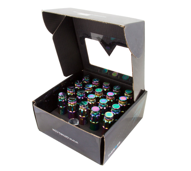 NRG LN-LS700MC-21 Neochrome with Locks & Lock Socket M12 x 1.5 Steel Lug Nut with dust cap cover (Set of 21)
