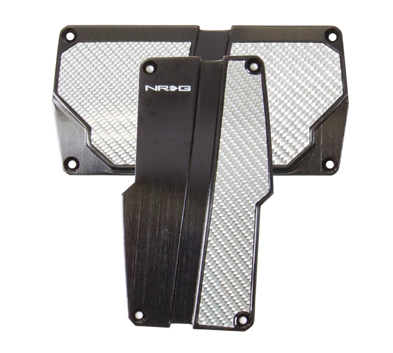 NRG PDL-150BK Brushed Aluminum Sport Pedal Black with Silver Carbon (Automatic Transmission)