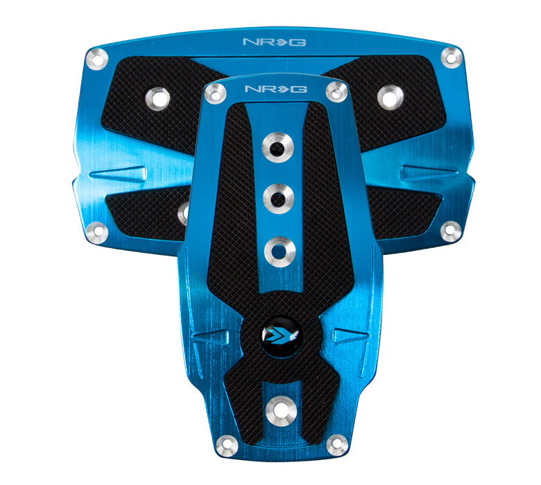 NRG PDL-250BL Brushed Blue Aluminum Sport Pedal with Black Rubber Inserts (Automatic Transmission)