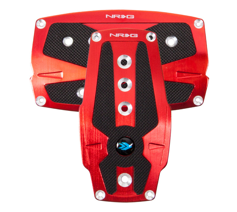 NRG PDL-250RD Brushed Red Aluminum Sport Pedal with Black Rubber Inserts (Automatic Transmission)