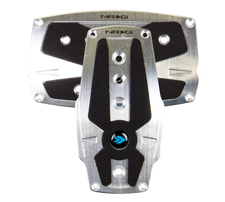 NRG PDL-250SL Brushed Silver Aluminum Sport Pedal with Black Rubber Inserts (Automatic Transmission)
