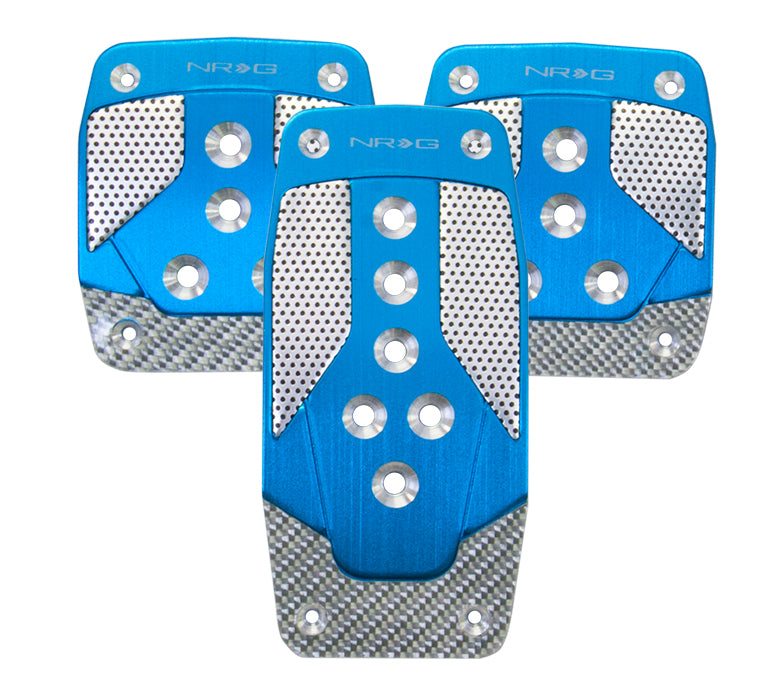 NRG PDL-400BL Aluminum Sport Pedal Blue with Silver Carbon (Manual Transmission)