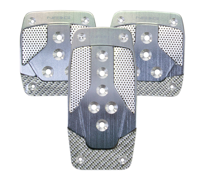 NRG PDL-400GM Aluminum Sport Pedal Gun Metal with Silver Carbon (Manual Transmission)