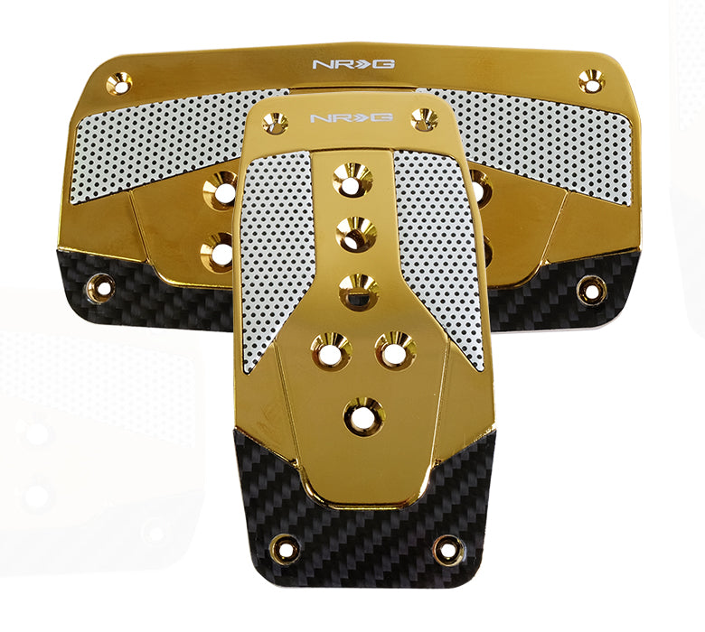 NRG PDL-450CG Aluminum Sport Pedal Red with Chrome Gold Carbon (Automatic Transmission)
