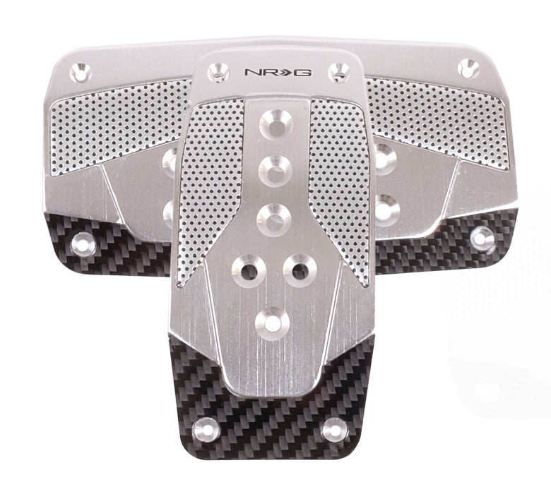 NRG PDL-450SL Aluminum Sport Pedal Silver with Black Carbon (Automatic Transmission)