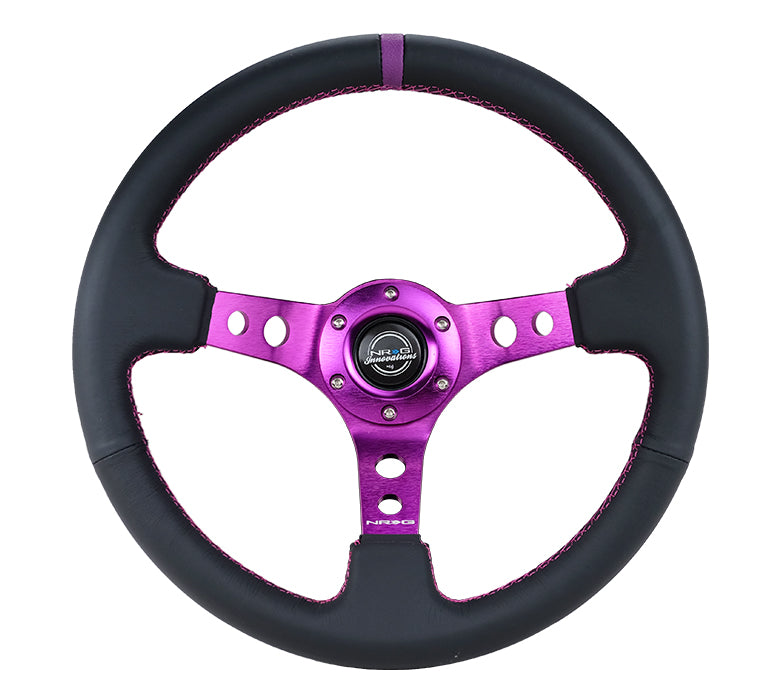 NRG RST-006PP 350mm Black Leather Reinforced Steering Wheel