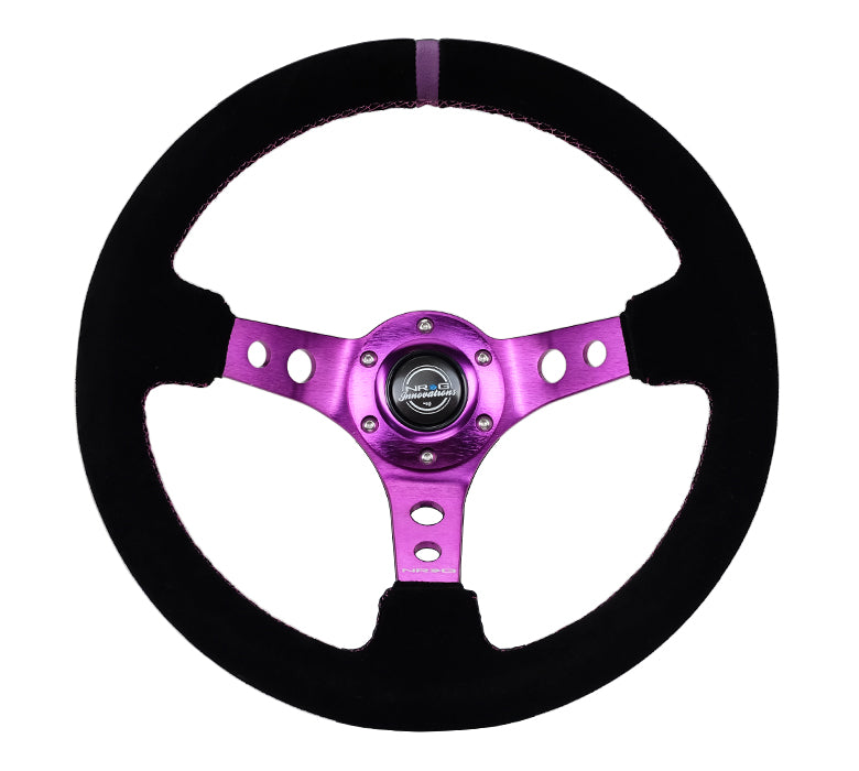 NRG RST-006S-PP 350mm Black Suede Purple Center Reinforced Steering Wheel