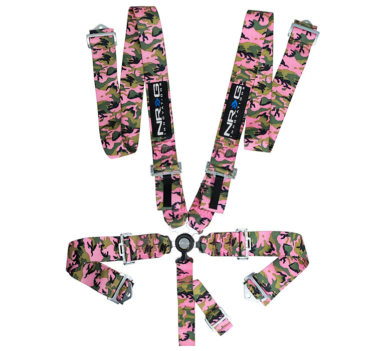 NRG SBH-RS5PCPKCAMO Pink Camo SFI 16.1 5 Point 3 inch Seat Belt Harness with Cam Lock