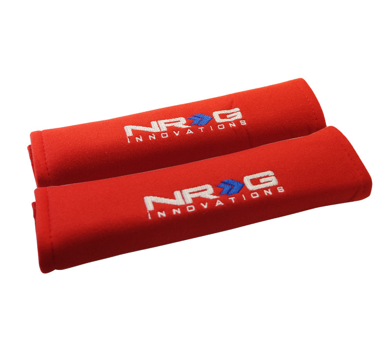 "NRG SBP-27RD Short Red Seat Belt Pads 2.7"" x 11"""