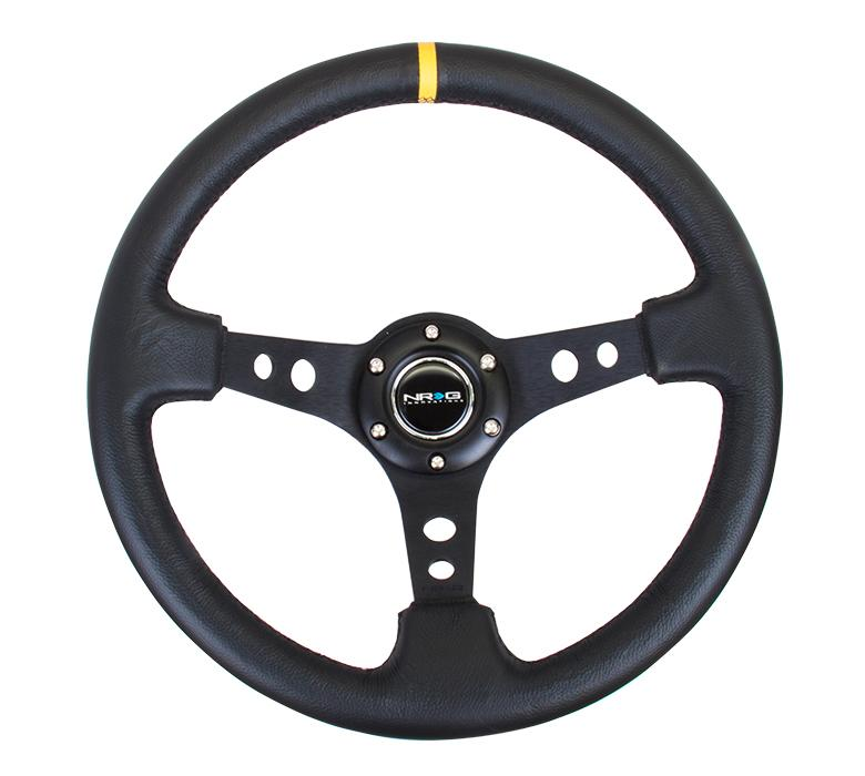 NRG RST-006BK-Y 350mm Black Leather Reinforced Racing Steering Wheel