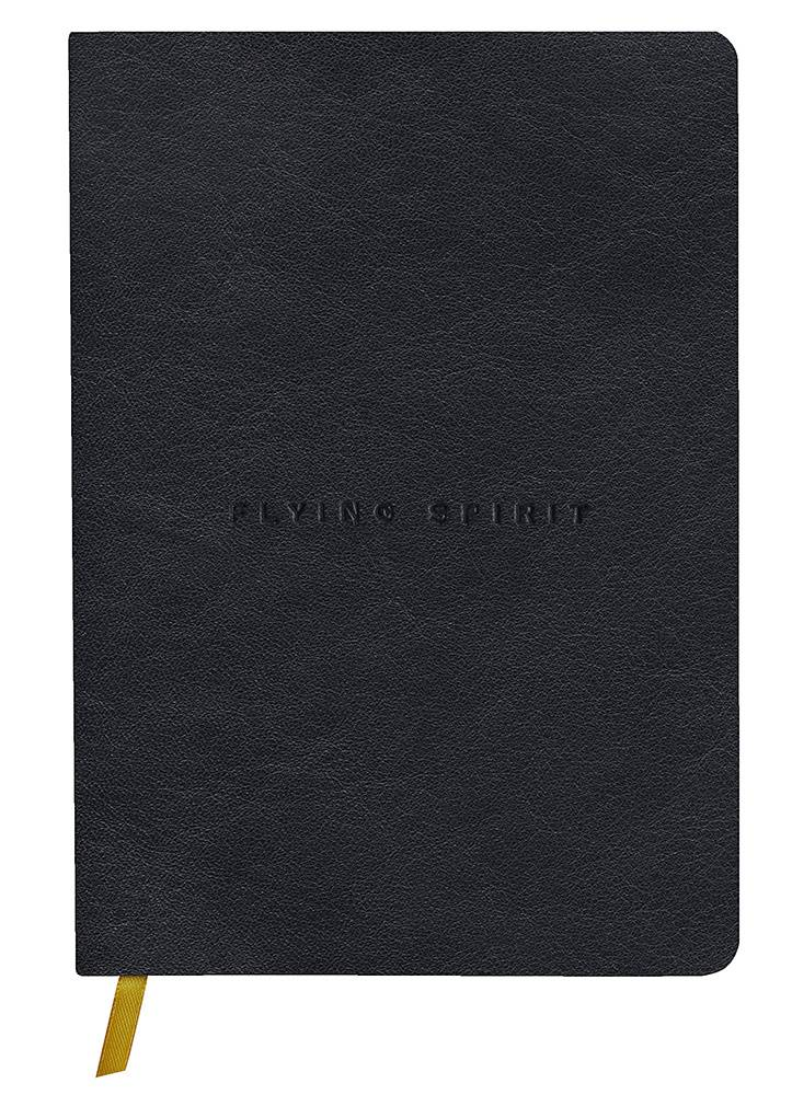Clairefontaine Flying Sprit ruled A5 genuine leather bound journal Black