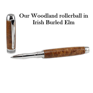 rhodium writing pen handmade i Irish burled elm in Ireland by Irish Pens